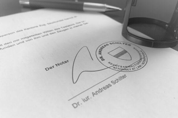 Notariat Anwaltskanzlei in Zug oder Schwyz